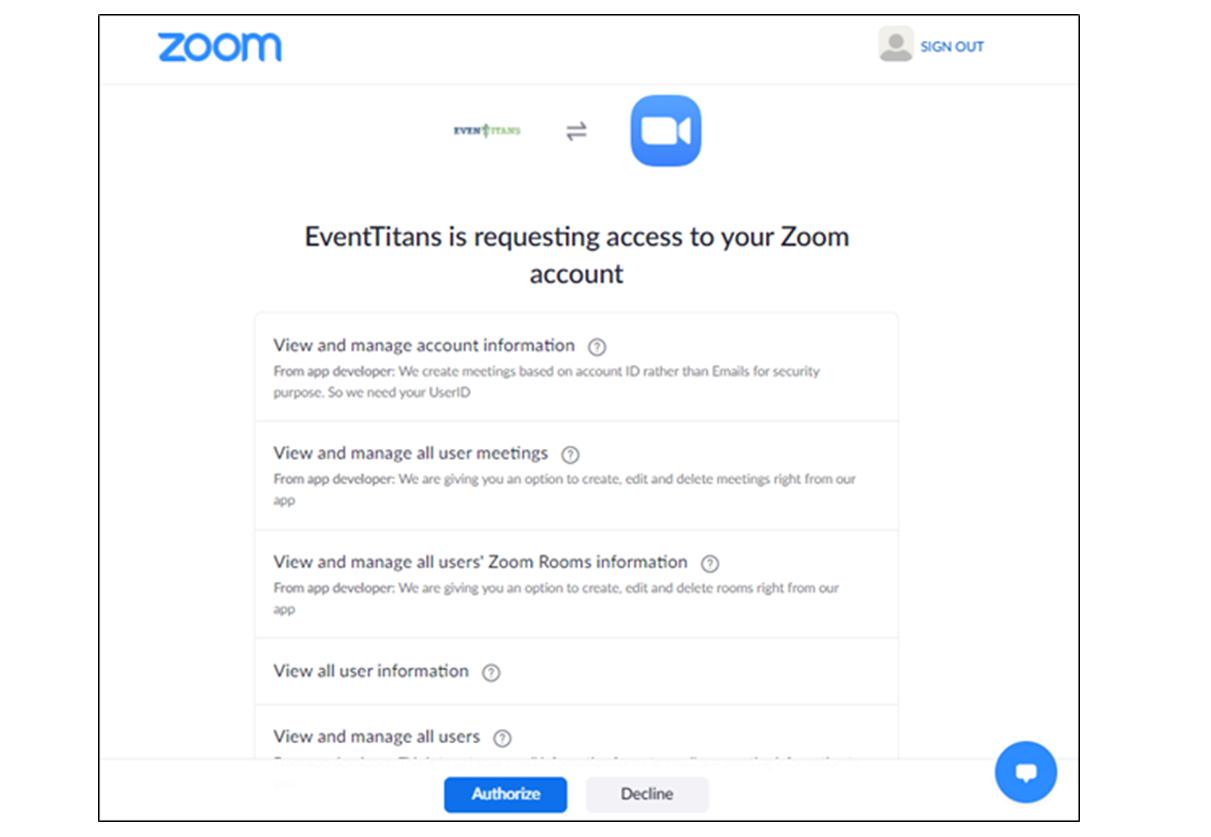 Zoom Authorize